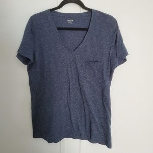 Madewell V Neck Heather Indigo T-shirt